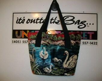 Vintage Velvet Wall Hanging Swan Tote Bag