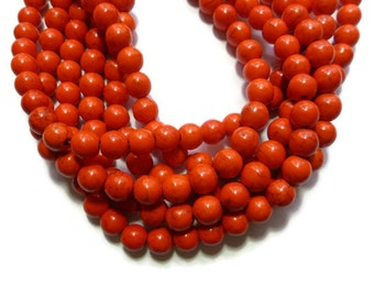 Orange Howlite - 10mm Round Bead - Red-Orange - Paprika - Persimmon - Full Strand - 41 beads - Synthetic Turquoise