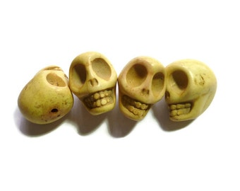 Lemon Yellow Howlite Skull - Extra Large Skull - 30mm x 25mm - 1 bead - Huge - Over 1 inch - Jumbo - synthetic turquoise
