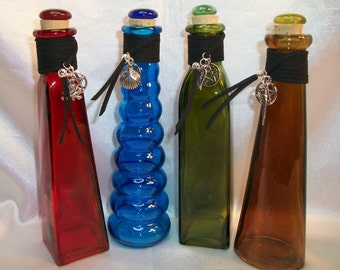 Elementals Glass Altar / Potion/Spell Bottle Set (4)