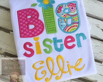 Big Sister Shirt or Big Cousin Shirt -- personalized shirt in bright colors in hot pink, turquoise, green, yellow