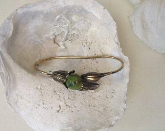 flower handlet - floral hand cuff - flower jewelry - botanical, nature inspired,green gem palm cuff