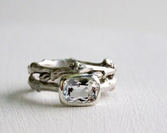 Engagement Ring Set, White Topaz, Silver Twig Rings, 8 x 6mm Rectangular White Topaz, Eternity Nature Rings