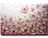 ORIGINAL Art Abstract Painting Pink Flowers Large Art Acrylic Wall Art Poppies Textured Palette Knife Gift READY to SHIP- Christine Krainock