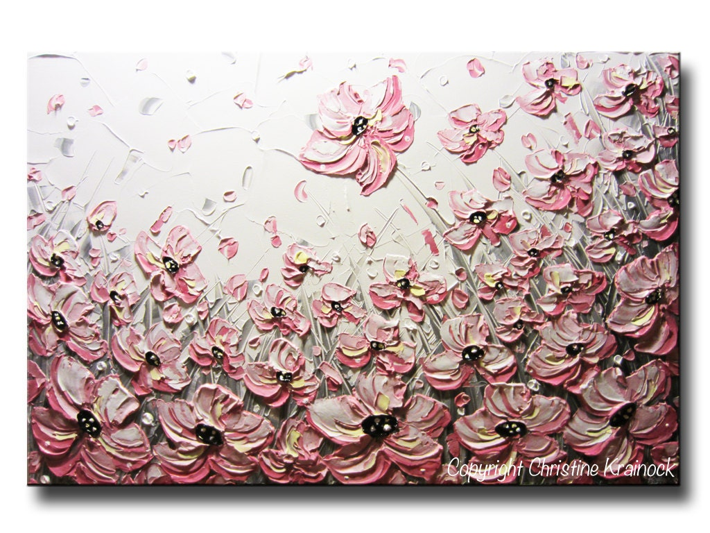 ORIGINAL Art Abstract Painting Pink Flowers Painting Large Art