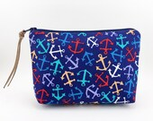 Small Zipper Pouch, Notions Bag, Padded, Gadget Case, Cosmetic Bag, Dark Blue, Accessory Bag, Gift idea - Anchor