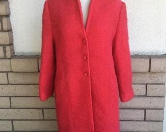 50s 60s Hot Pink & Orange Mohair Coat Long Mad Men Winter Coat Size L-XL