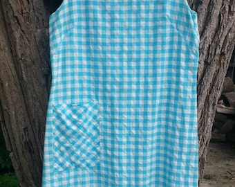 Lovely Blue and White Gingham Dress plus Size Shift Dress Circa 60s