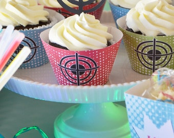 Laser Tag  (instant download) cupcake wrappers