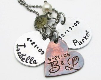 Personalized Necklace, Personalized Mom Necklace, Hand Stamped Jewelry, Mom Necklace, Personalized Jewelry, Mothers Necklace, Mom Gift