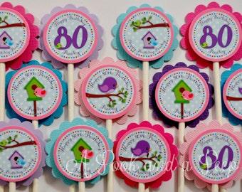 Pastel Spring Bird Birthday or Shwoer Cupcake Toppers - Set of 12