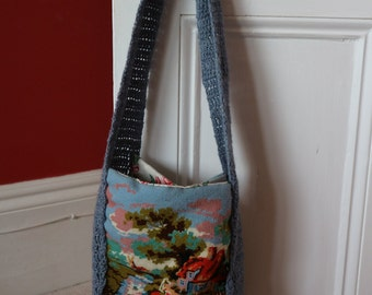 Tapestry chintz crochet shoulder bag reversible roomy and unique !