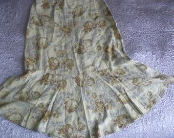 Beautiful honey floral linen flared skirt uk 14, us 10