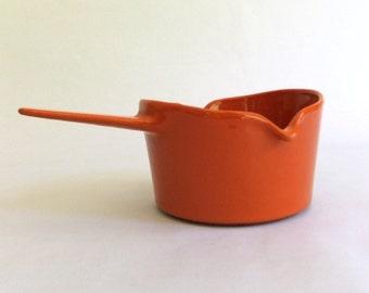 Vintage Copco Dark Orange Enamel on Iron Butter Warmer, Small Pot or Saucepan - Michael Lax,  Denmark, Mid Century Scandinavian Modern