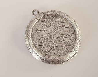 Round Photo Locket Ox Silver Brass  Engraved Tapestry Victorian Style Pendant.