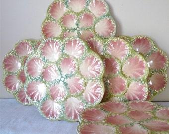 WONDERFULL - Oyster Plate - Pink French Vintage Service 9 Oyster Plate - French Majolica - French Dinner - Holidays Season