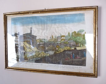 18th RARE - Rome - French Etching Gorgeous French Engraving of the Eighteens Century Rome Italy Gilded Frame french Decor