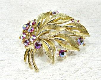 Vintage Gold Leaf Brooch Pin, Designer LISNER Brooch, Red Rhinestones Brooch, AB Crystal Brooch, 1960s Costume Jewelry, Gift for Grandma Mom