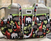 Diaper Nappy bag tote custom made baby bag giraffe, elephant zoology zoo Foxglove Bag