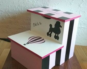 Paris Bathroom - Step Stool - Kitchen Step Stool - Bathroom Step Stool - Toddler Girls - Kids Step Stool - Ooh la la - Kids Furniture