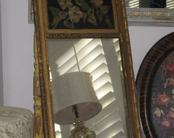 Charming Old Shabby Relic Mirror - Gilded Gesso on Wood - Hand Painted Tin Toleware Panel - Chippy Very Vintage