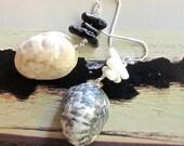 New Moon Asymmetrical Shell Earrings
