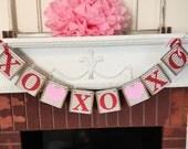 Valentine's Day Garland / Valentines Day Decorations / XOXOXO Sign / Chevron Stripe Valentine Decor/ Photo Prop