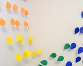 Baby Sprinkle Decorations, Paper raindrops, Rainbow Rain drop garland, Nursery decor, Sprinkle Shower , your color choices