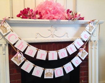 PRINCESS Birthday Banner- Cake smash  banner - Pink & Gold BIRTHDAY Decorations - Princess Crown birthday photo prop - Your Color choice