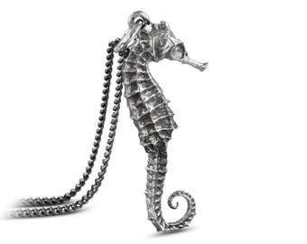 "Seahorse Necklace - Antique Silver Seahorse Pendant on 24"" Gunmetal Chain"