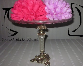 Fancy Swivel up-cycled Hollwood-Regency dessert cake stand/Dessert/Tea Party/Decor/Made to Order