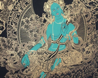 10.16 Georgeous Thangka Of Tibetan Deity Green Tara from the Birth Place of Buddha-Nepal