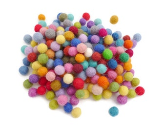 Handmade wool felt balls pom pom small bead arts and crafts craft beads 10mm mix of colours 100%