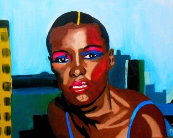 Hand Painted 16 x 12 Oil Painting of Grace Jones