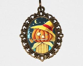 Pumpkin Man Necklace, Halloween Jewelry, Corn, Pipe, Pumpkins, Spooky, Horror, Pumpkin Person, Smoking, Oddities, Bronze Oval Pendant