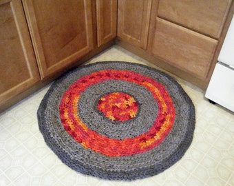 Handmade Crochet Grey Statement Rug with Bright Colors Accent