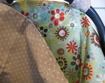 Mint Floral and Gray Dot Carseat Cover CLEARANCE