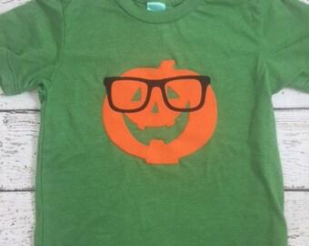 pumpkin shirt, hipster pumpkin, Halloween shirt, pumpkin tee, Halloween tee for boy or girl infant toddler youth short or long sleeve