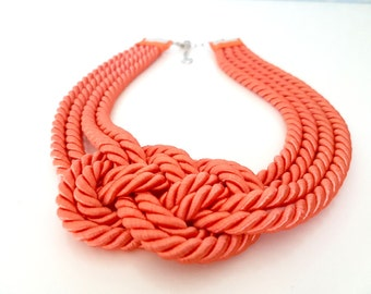 Rope Knot Necklace, Nautical Knot Necklace, Knot Necklace, Bib Necklace, Rope Statement Necklace