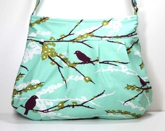 Plum Birds / Sparrows on Aqua Pleated Shoulder Purse Hobo Shoulder Bag Cross Body Bag Crossbody Bag - Joel Dewberry Fabric - Made to Order