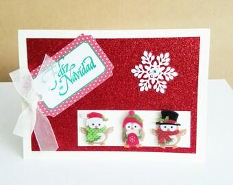Handmade Christmas card, Spanish Christmas card, Feliz Navidad, targeta de Navidad,