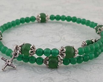 Rosary Bracelet, St. Brigid Cross, Green Aventurine Gemstones, Strong Stainless Steel, Five Decade, Memory Wire, Handcrafted, Wrapped Rosary