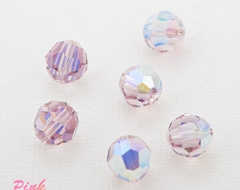 Swarovski crystal 8mm beads small packaging 6 pc. Light Amethyst (212) AB 5000