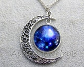 Moon Galaxy space  charm necklace Best friend necklace,bff necklace, sister, friendship jewelry, personalized
