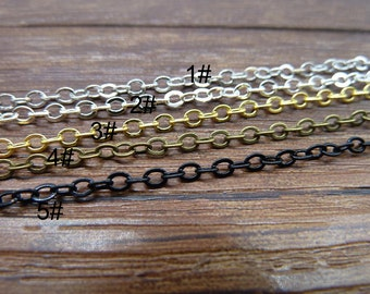 16ft (5m) 3* 2mm of Gold  Ancient bronze  Lead Black Plated brass chain Necklace Chain Jewelry Links/ handmade chain