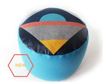 Moonrise, geometric patchwork pouffe
