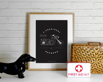 Harley Davidson Sons of Anarchy Poster Print - Jax Teller, A4 Illustration Print,Motorcycle,Motorbike,Illustration,Minimalist, minimal print