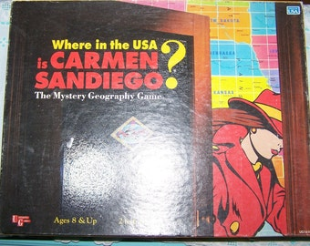 "Vintage 1993 ""Where In The USA Is Carmen Sandiego?"" Board Game"
