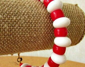 vintage 60s monet red white bead bracelet mod scooter girl