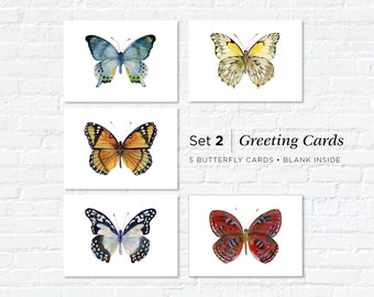 Watercolor Butterfly Greeting Cards, Set 2, Five Different Butterflies, 5x7, blank inside, gift for butterfly lovers